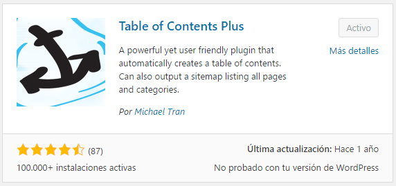 Instalando una tabla de contenidos en WordPress