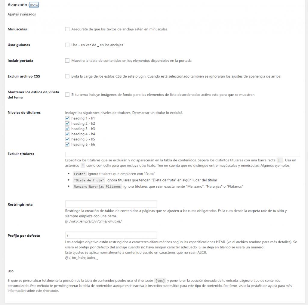 Configuración automática de la tabla de contenidos