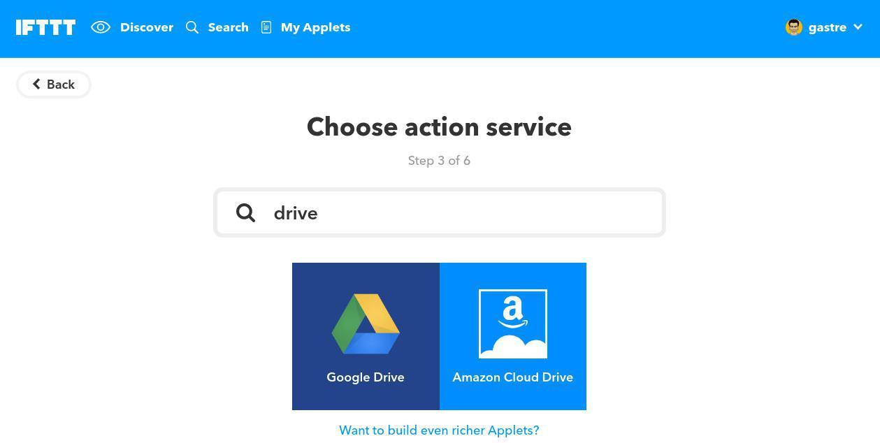 Elegir Google Drive como canal en IFTTT