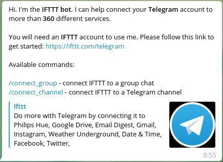 Mensaje de bienvenida del bot de IFTTT