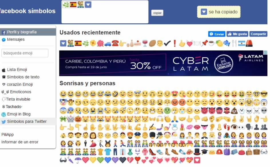 Facebook Símbolos como herramienta para Community Managers