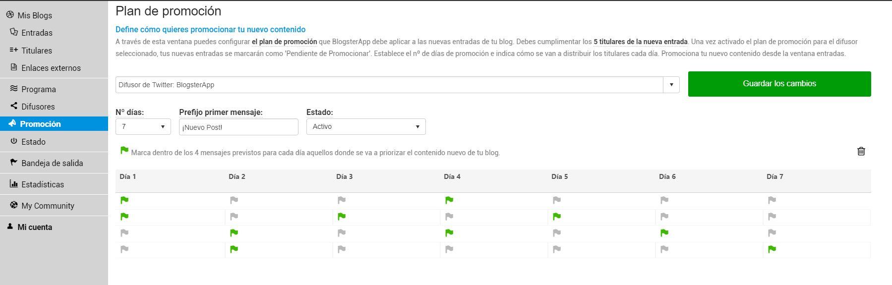 Cómo configurar el plan de promoción de BlogsterApp para aumentar el tráfico a tu blog
