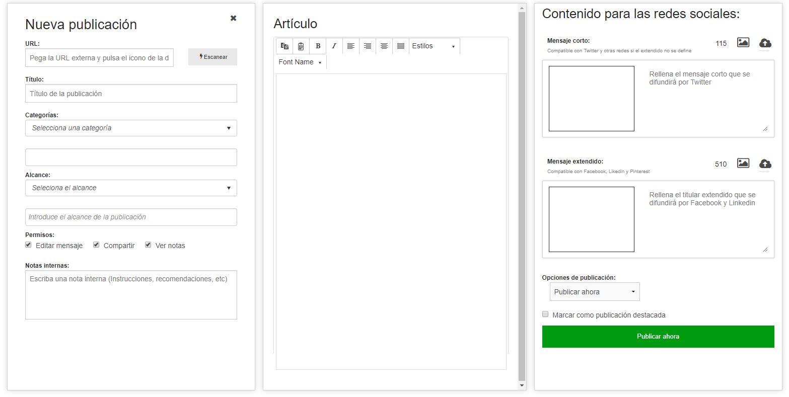 Añadir una publicación al repositorio de contenidos de BlogsterApp Ambassador