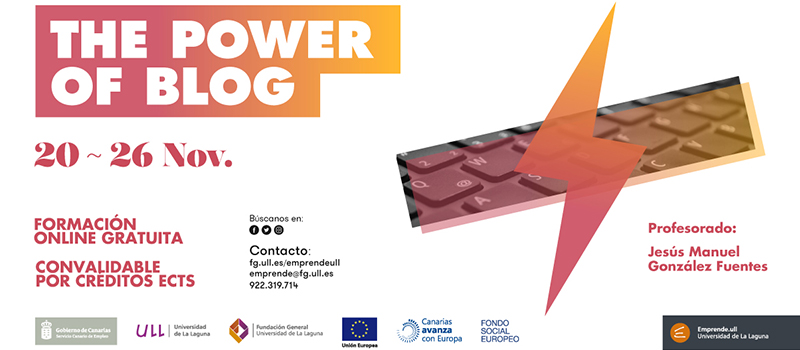 The Power of Blog, curso gratuito de la mano de BlogsterApp y EmprendeULL