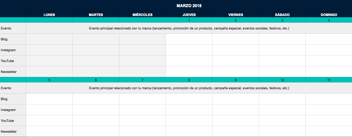 Calendario editorial de Lucía Jiménez Vida