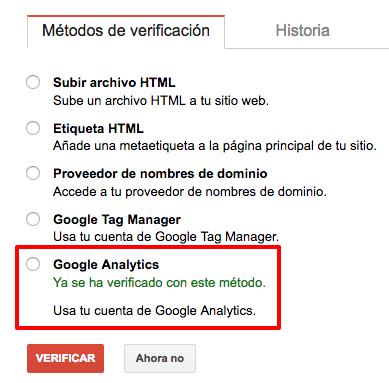 Verifica tu cuenta de Search Console con Google Analytics