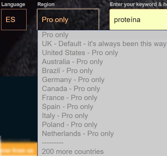 Análisis de palabras clave por países