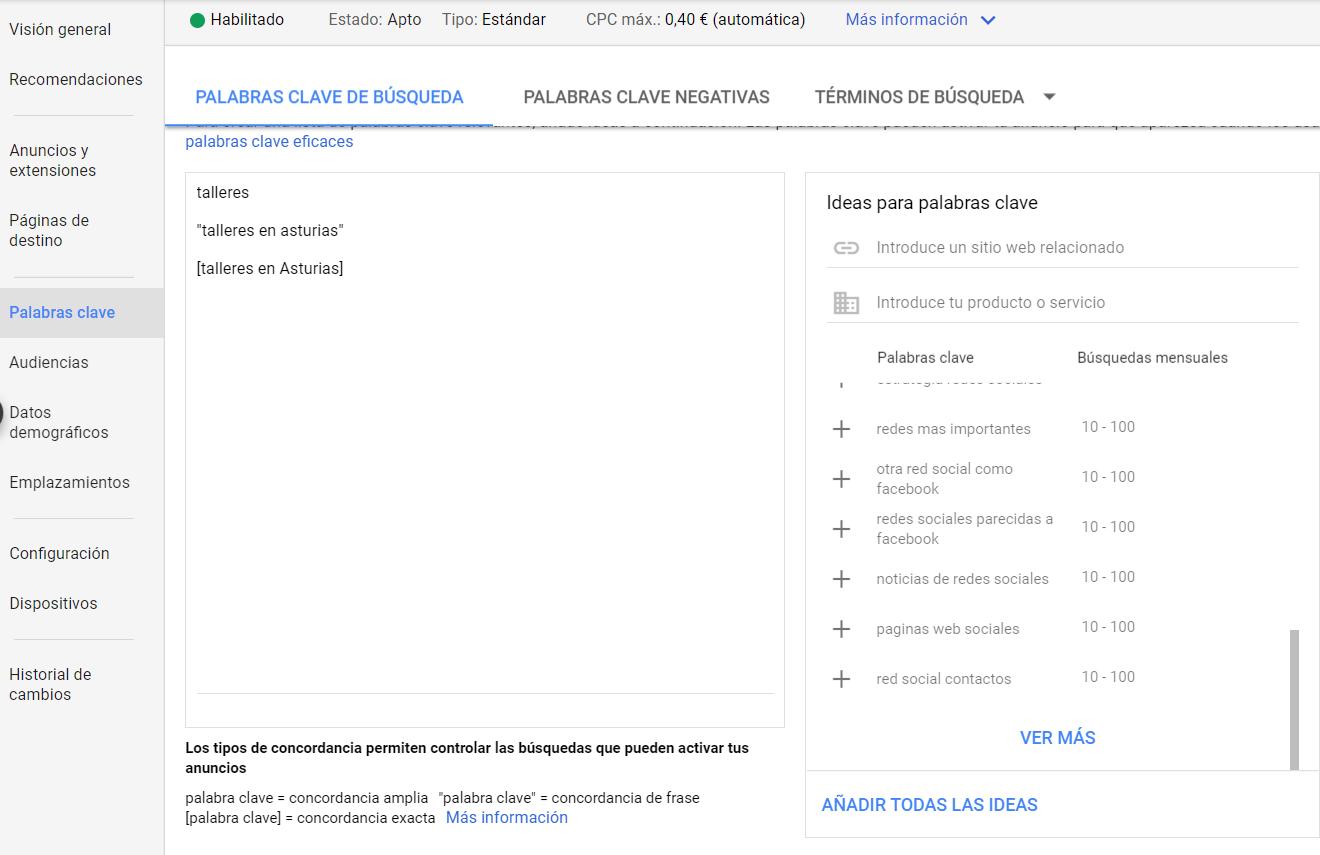 Ten en cuenta las palabras clave para crear un anuncio en Google Ads