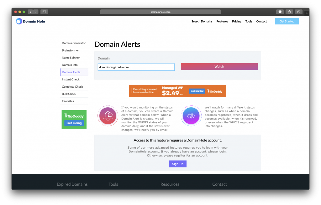 Escoger el nombre de tu dominio con Domain Hole Alerts