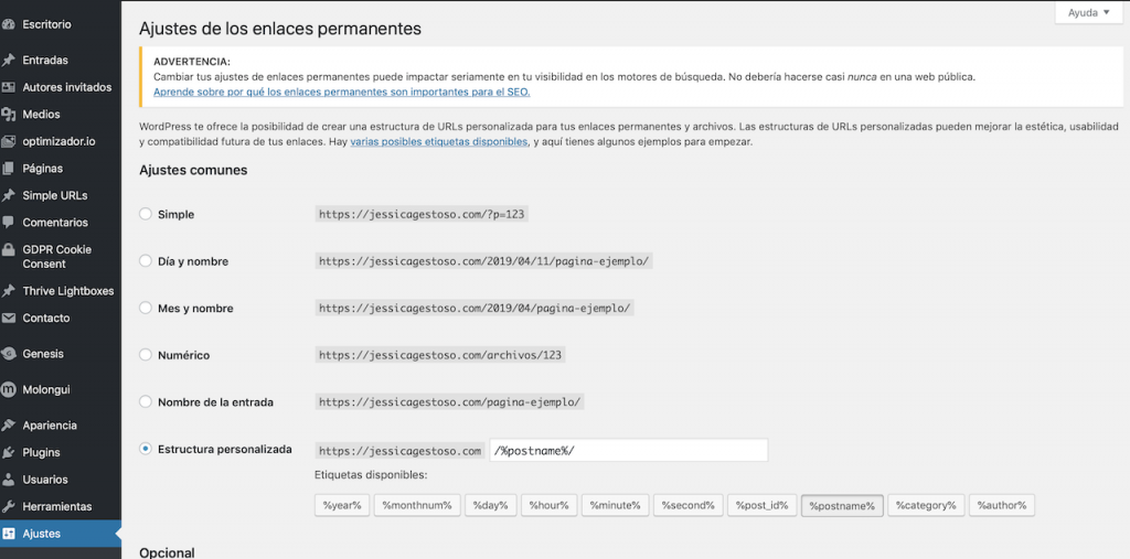 Cómo modificar los permalinks en WordPress