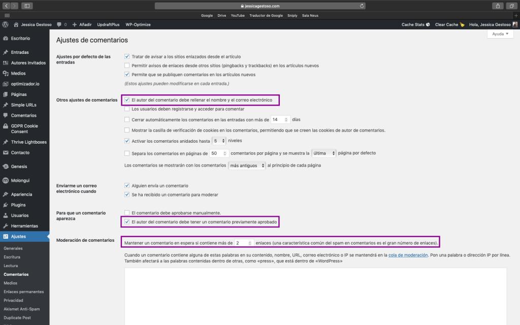 Ajustar los comentarios para evitar el spam en WordPress